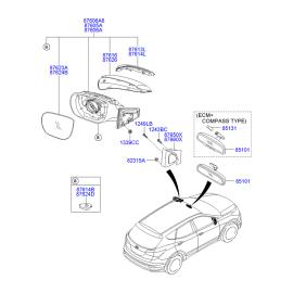 Зеркало правое электрическое Hyundai Santa Fe 3 (2012-н.в.)