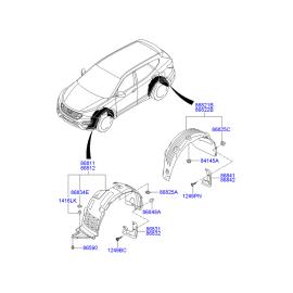 Брызговик передний левый Hyundai Santa Fe 3 (2012-н.в.)