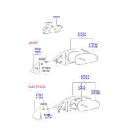 Зеркало левое электрическое Hyundai Accent (2001-2006)