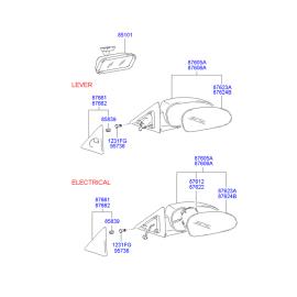 Зеркало правое электрическое Hyundai Accent (2001-2006)