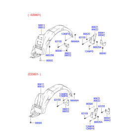 Брызговик передний правый Hyundai Accent (2001-2006)