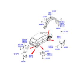 Брызговик задний левый Hyundai Getz (2002-2011)