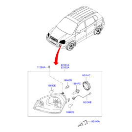 Фара левая Hyundai Tucson 1 (2004-2010)