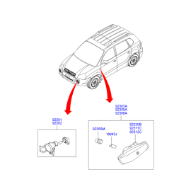 Фара противотуманная (ПТФ) правая Hyundai Tucson 1 (2004-2010)