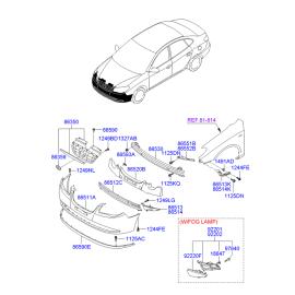 Фара противотуманная (ПТФ) правая Hyundai Elantra 4 (2006-2010)