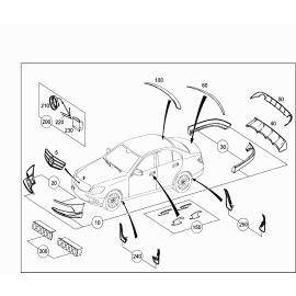 Брызговики задние Mercedes C-klass W204 (2007-2015)