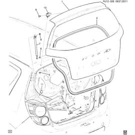 Амортизатор крышки багажника правый хэтчбек Chevrolet Aveo T300 (2012-2017)