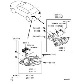 Фонарь левый внутрений Mitsubishi Lancer 10 (2011-н.в.)