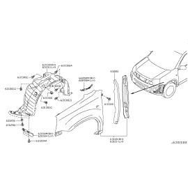Подкрылок передний правый Nissan X-Trail T31 (2007-2015)