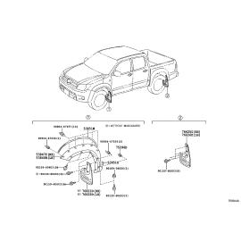 Брызговик задний левый Toyota Hilux 7 (2005-2016)