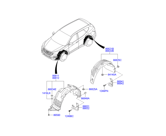 Брызговик передний правый Hyundai Santa Fe 3 (2012-н.в.)