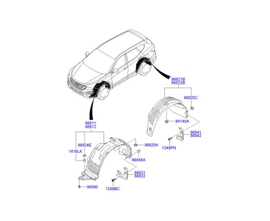 Подкрылок задний левый Hyundai Santa Fe 3 (2012-н.в.)