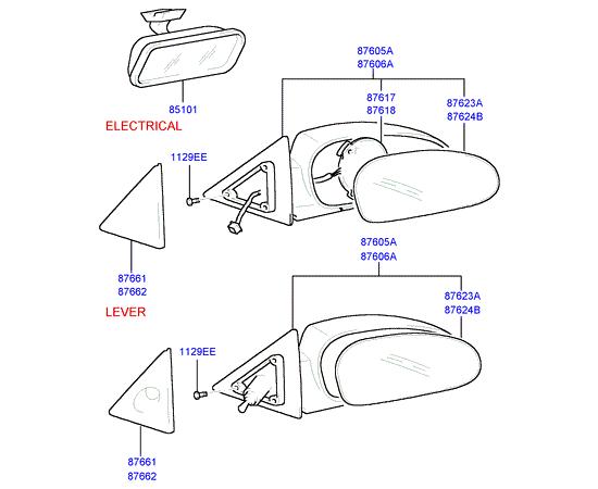 Зеркало правое Hyundai Sonata 4 (2001-2012)
