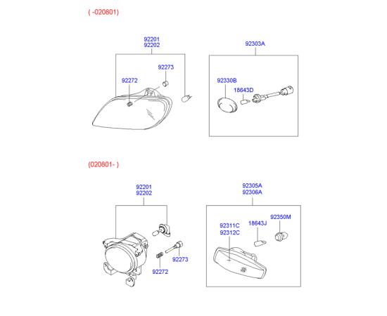 Фара противотуманная (ПТФ) правая Hyundai Accent (2001-2006)