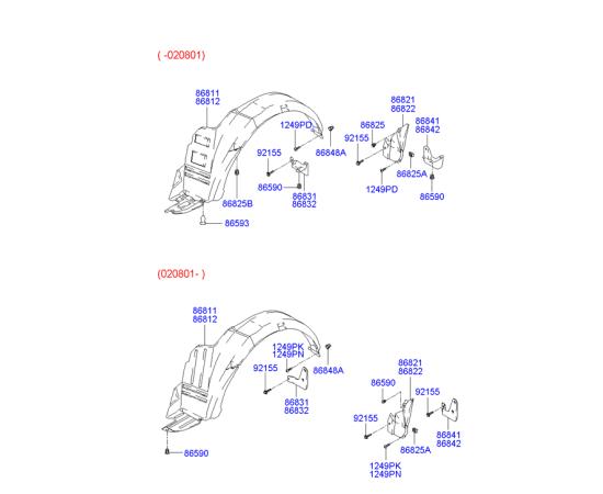 Брызговик передний левый Hyundai Accent (2001-2006)
