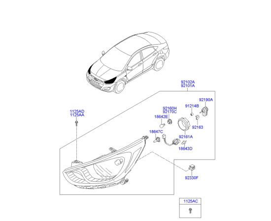 Фара правая Hyundai Solaris (2010-2014)