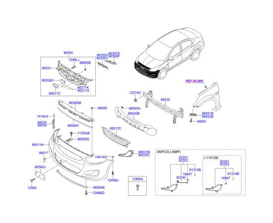 Фара противотуманная (ПТФ) левая Hyundai Solaris (2010-н.в.)