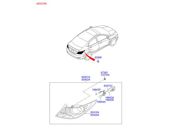 Фонарь левый Hyundai Solaris (седан) (2010-2014)