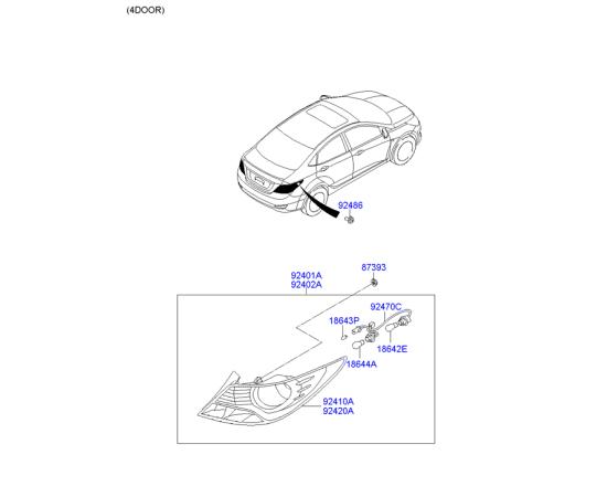Фонарь правый Hyundai Solaris (седан) (2010-2014)