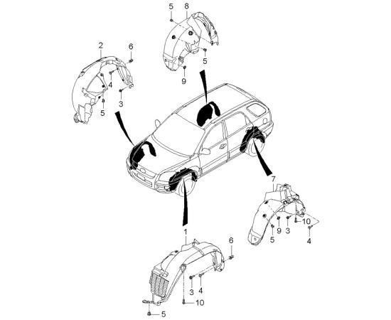 Подкрылок передний правый KIA Sportage 2 (2004-2010)