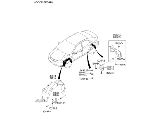 Брызговик передний правый KIA Cerato 2 (2009-2013)